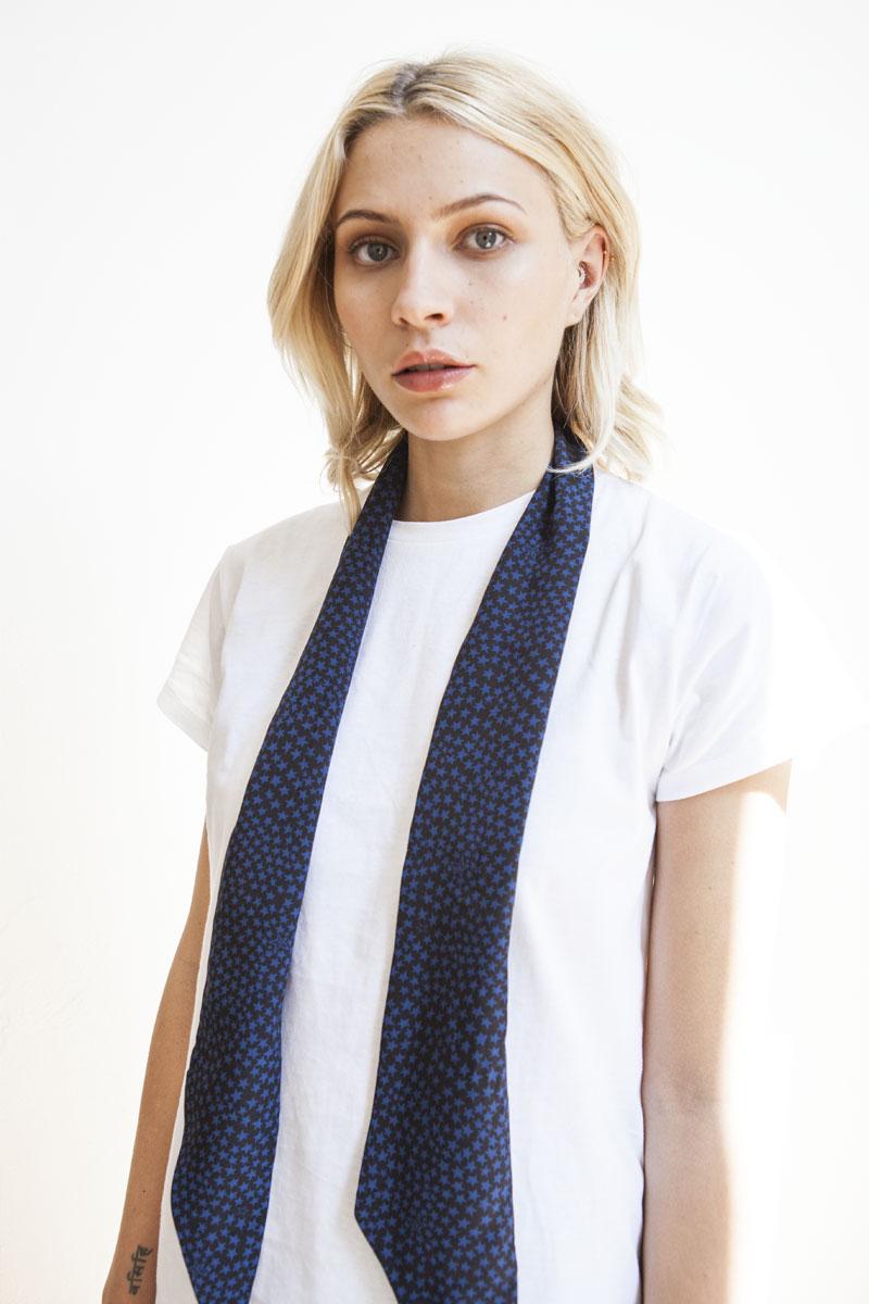 NATALIA/em> Silk scarf with digital printed CRAZY STAR black and navy