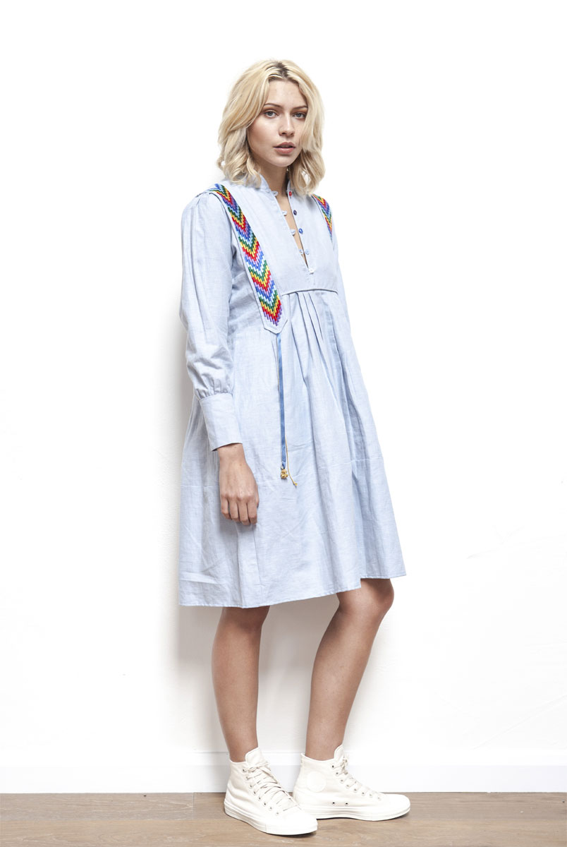 MAGIC Chambray dress with embroidered IKAT panels