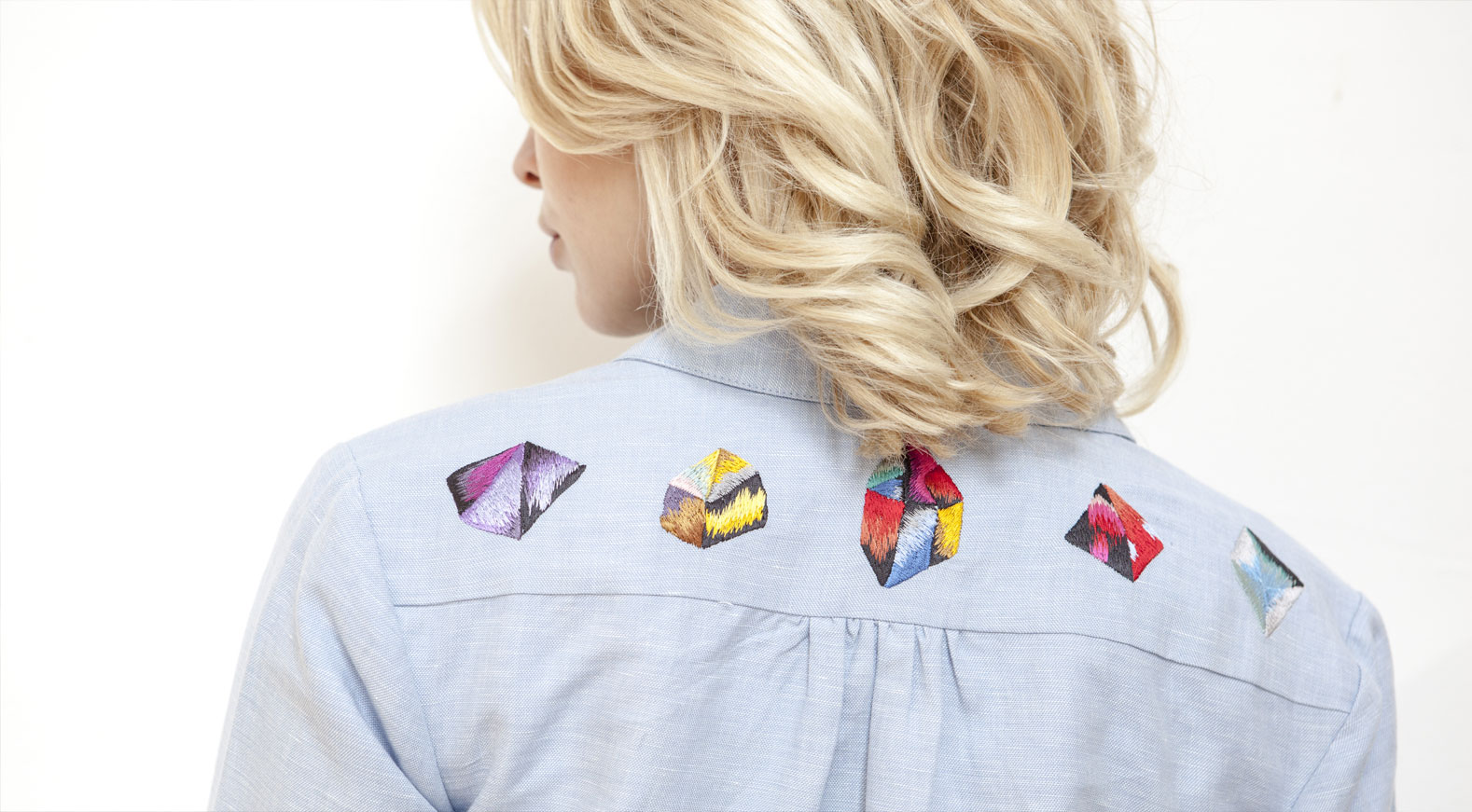 EVE Chambray 40's shirt with embroidered HEALERS & IKAT