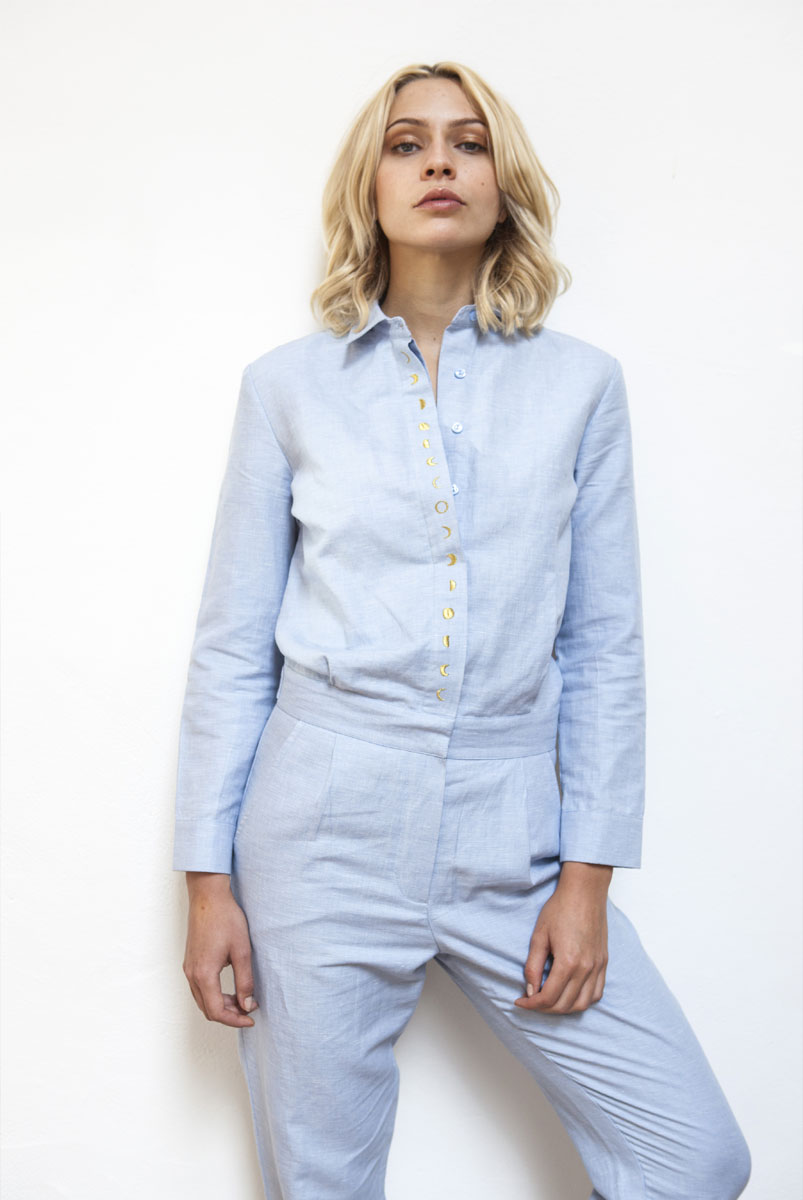 SIDSEL Chambray jumpsuit with embroidered RAINBOW CRYSTAL on the back panel & CHANGING MOON on front button placket
