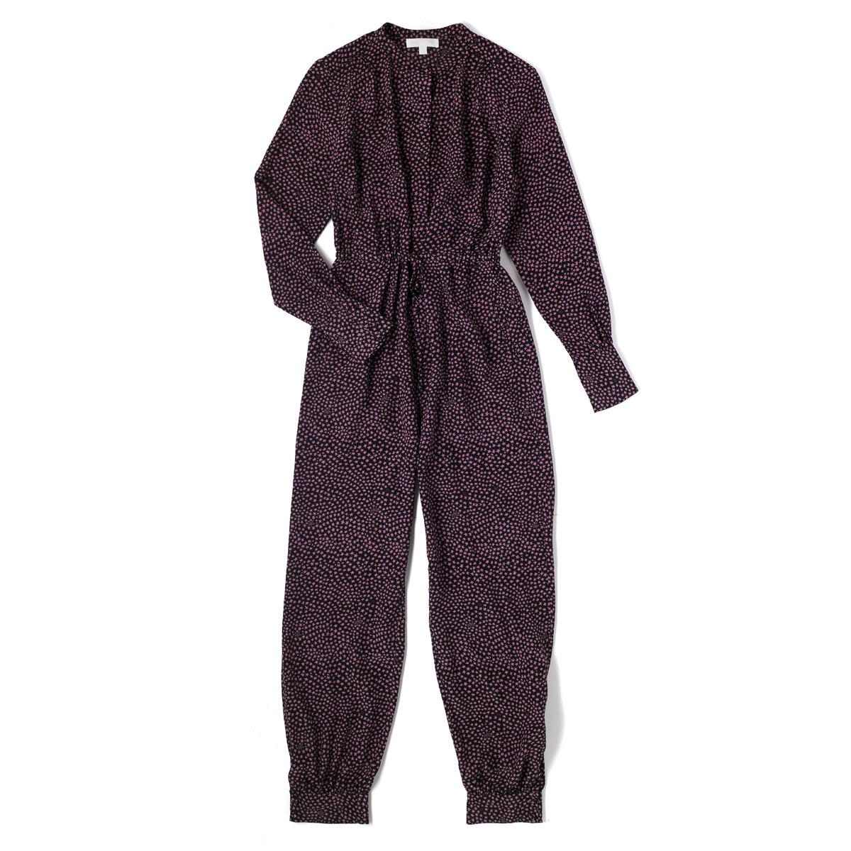 GIORGINA Silk jumpsuit with digital printed CRAZY STAR Black/pink