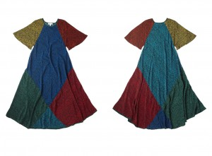 DAISY Silk dress with digital printed CRAZY STAR RAINBOW