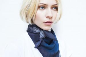HIP HOP STAR Silk digital printed scarf 90 x90 cm. Photo: Jessica Sargeant. Model: Charlie Siddick. Hair & Make-up: Christabel Draffin.