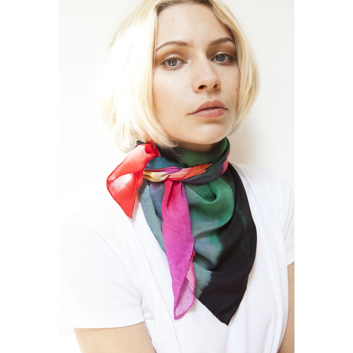 VIRGO Silk digital printed scarf 90 x90 cm.