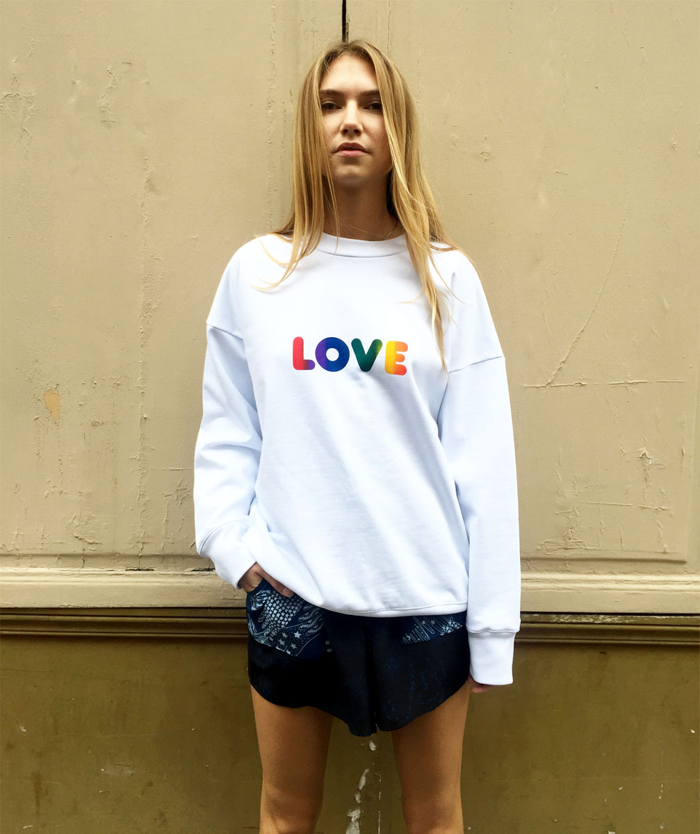 KALE RAINBOW LOVE SWEAT SHIRT Photo.  DAVINA EBIKEME. Model KATKOVA NATALIA