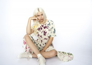 Digitally printed RAINBOW WATERSTAR, silk DAISY dress  Photo. Jessica Sargeant. Model Charlie Siddick