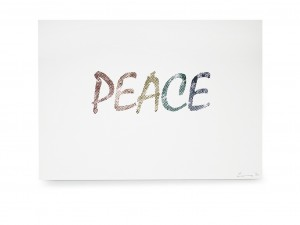 Peace Moon text Digital Print.