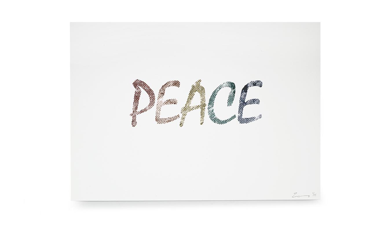 Peace Moon text Digital Print.