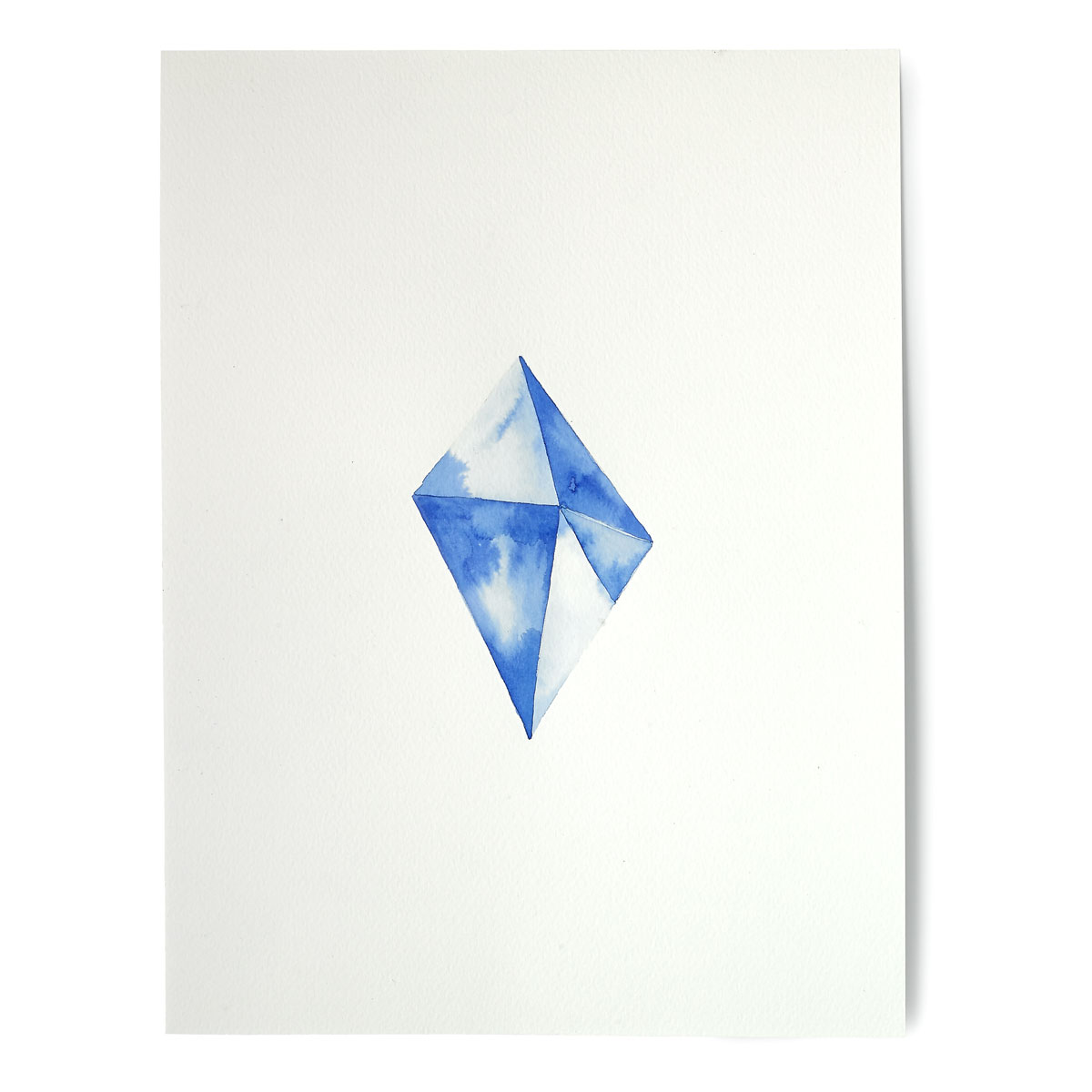 Blue Tetrahedron Crystal Hand Painted