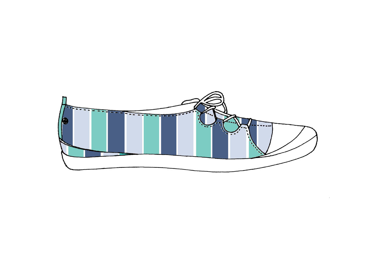 Stripe-printed sneaker lace-up pump, Zakee Shariff, SS04