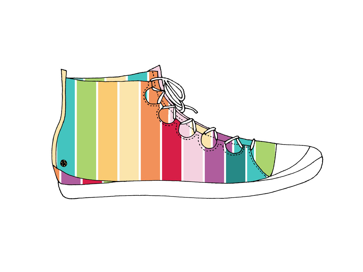 Rainbow-printed sneaker boot, Zakee Shariff, SS04