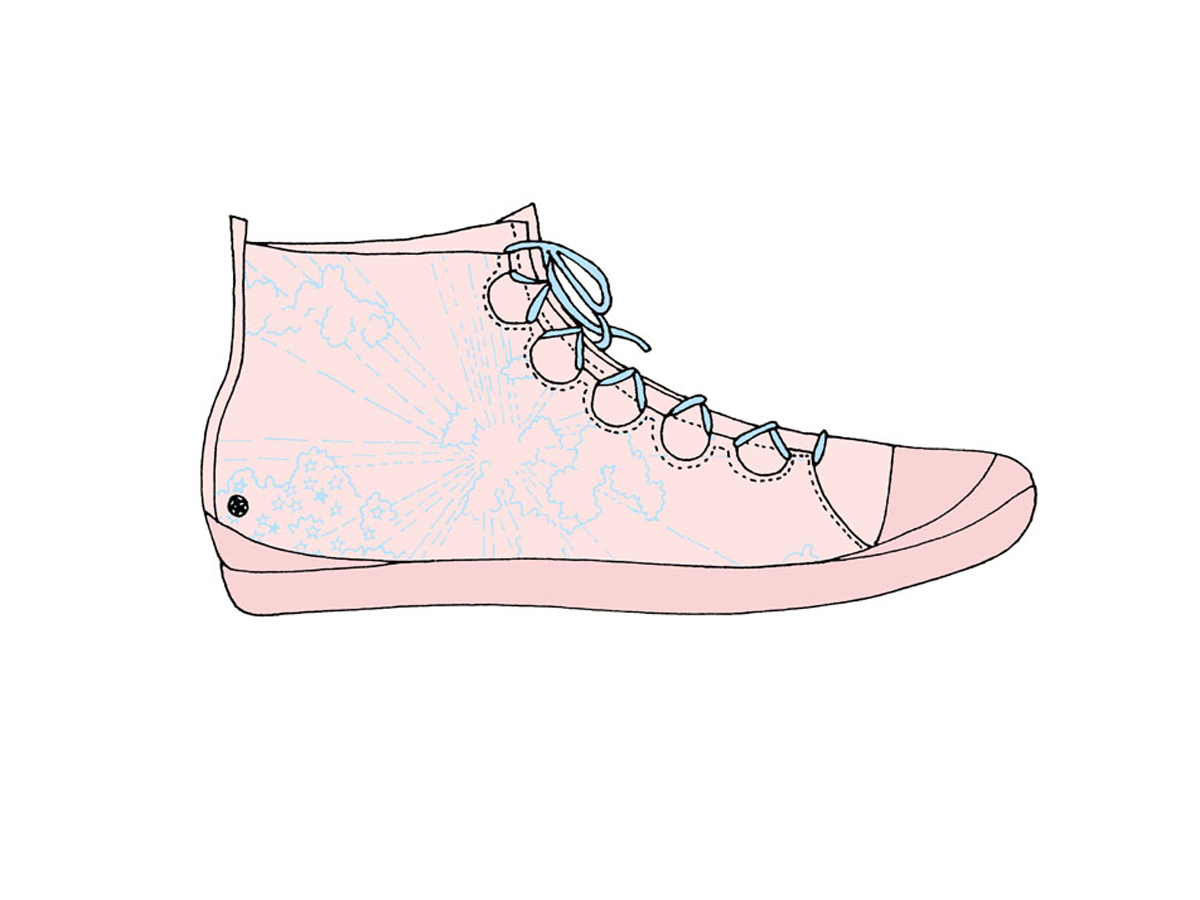 Cloud-printed sneaker boot, Zakee Shariff, SS04