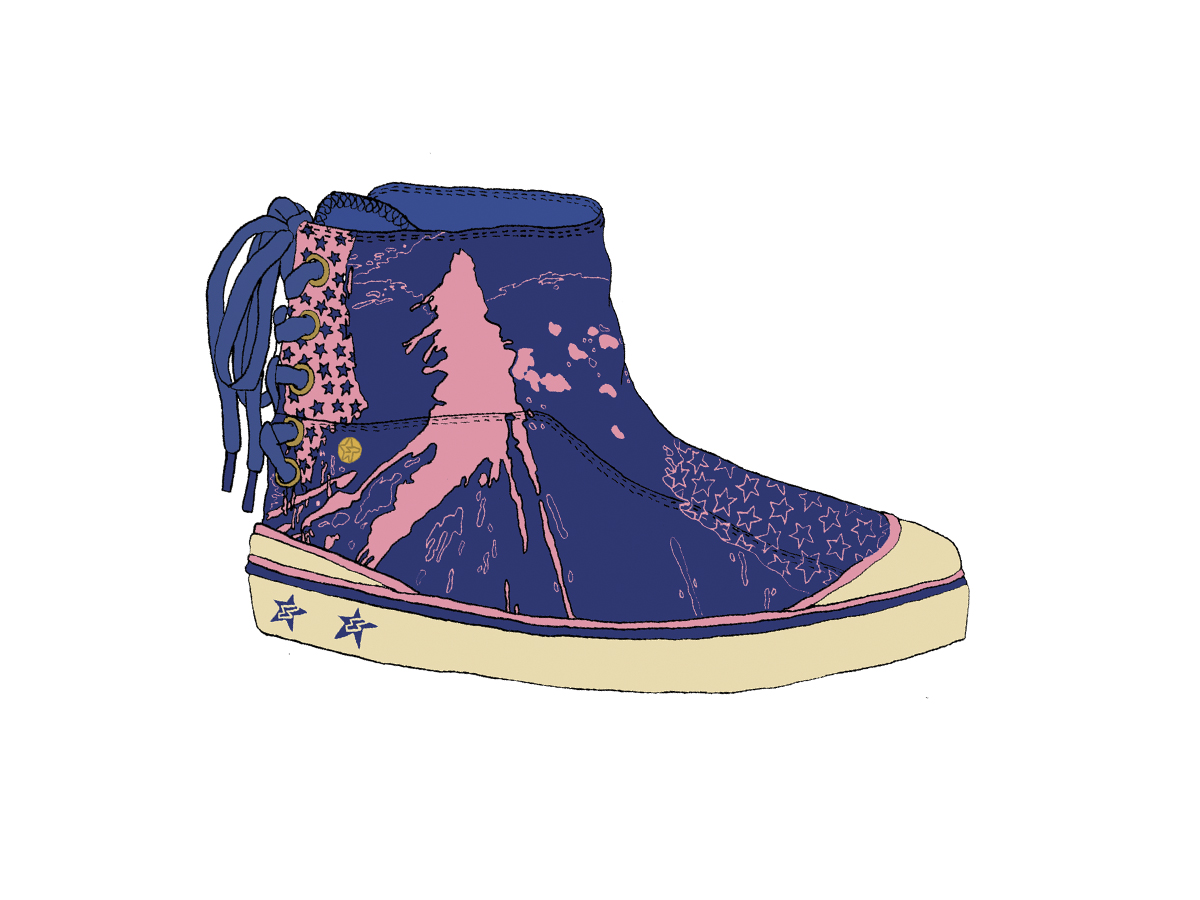 Printed canvas boot, Zakee Shariff, AW05
